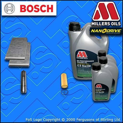 SERVICE KIT for BMW 6 SERIES 635D E63 E64 OIL FUEL CABIN FILTER +OIL (2007-2010)