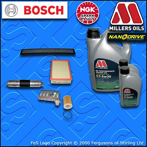 SERVICE KIT BMW 3 SERIES E46 320I M54 OIL AIR FUEL CABIN FILTER PLUGS +OIL 00-07