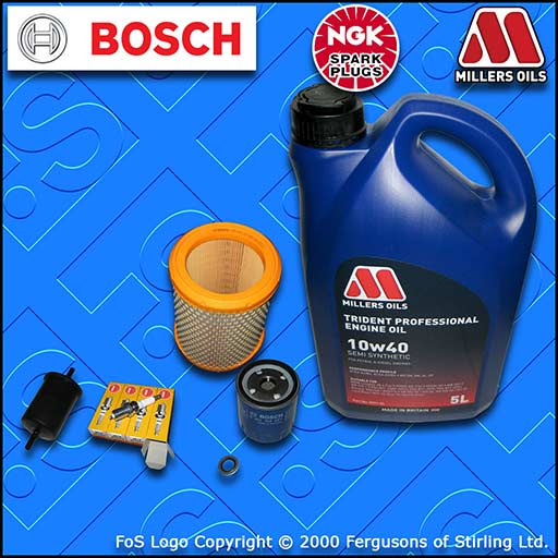 SERVICE KIT for PEUGEOT 106 1.1 OIL AIR FUEL FILTER PLUGS+10w40 SS OIL 1996-2000