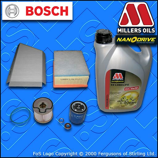 SERVICE KIT PEUGEOT 206 2.0 HDI OIL AIR FUEL CABIN FILTERS BOSCH +OIL 1999-2001
