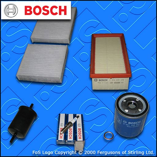 SERVICE KIT for DS DS3 1.2 VTI BOSCH OIL AIR FUEL CABIN FILTER PLUGS (2015-2019)