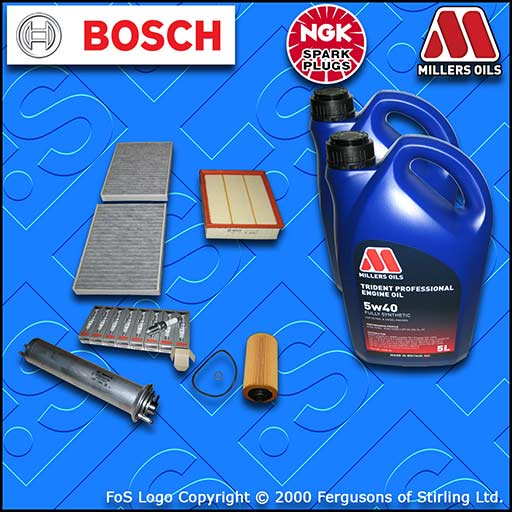 SERVICE KIT for BMW 5 SERIES E39 540I OIL AIR FUEL CABIN FILTER PLUGS +OIL 98-03