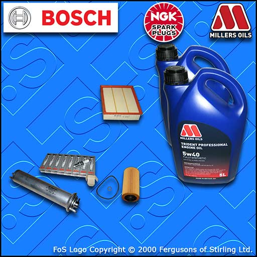 SERVICE KIT for BMW 5 SERIES (E39) 540I OIL AIR FUEL FILTER PLUGS +OIL 1998-2003
