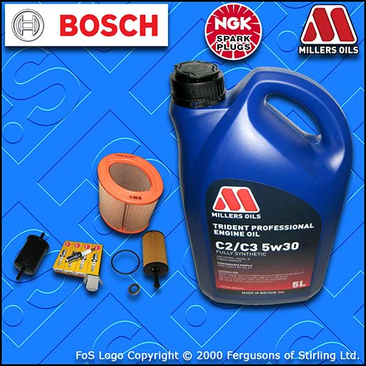 SERVICE KIT for PEUGEOT 106 1.1 OIL AIR FUEL FILTER PLUGS +5w30 FS OIL 2000-2004
