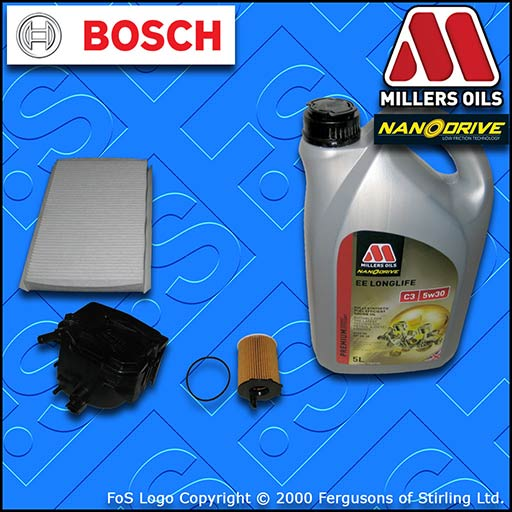 SERVICE KIT for PEUGEOT 307 1.6 HDI CC SW OIL FUEL CABIN FILTER +OIL (2004-2013)