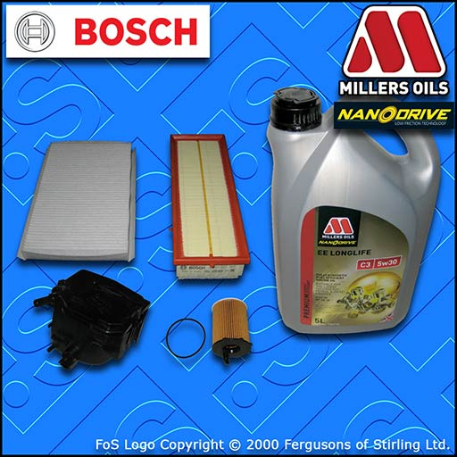 SERVICE KIT PEUGEOT 307 1.6 HDI CC SW OIL AIR FUEL CABIN FILTER +OIL (2004-2013)