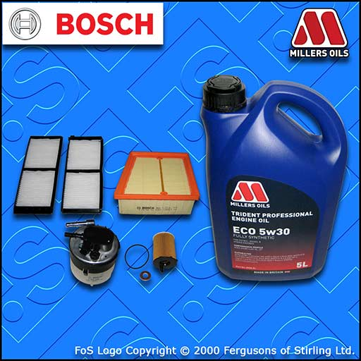 SERVICE KIT for MAZDA 2 1.6 MZ-CD DIESEL OIL AIR FUEL CABIN FILTERS +OIL (08-10)