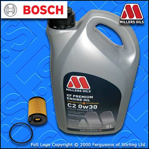 SERVICE KIT for JEEP RENEGADE 1.4 BOSCH OIL FILTER +MILLERS OIL (2014-2016)