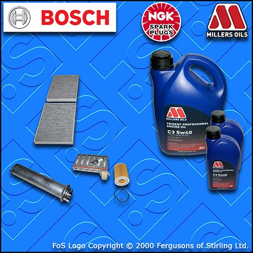 SERVICE KIT for BMW 5 SERIES (E39) 530i OIL FUEL CABIN FILTER PLUGS +OIL (00-03)
