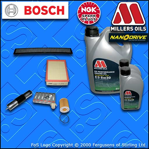 SERVICE KIT BMW 3 SERIES E46 320I M52 OIL AIR FUEL CABIN FILTER PLUGS +OIL 98-00