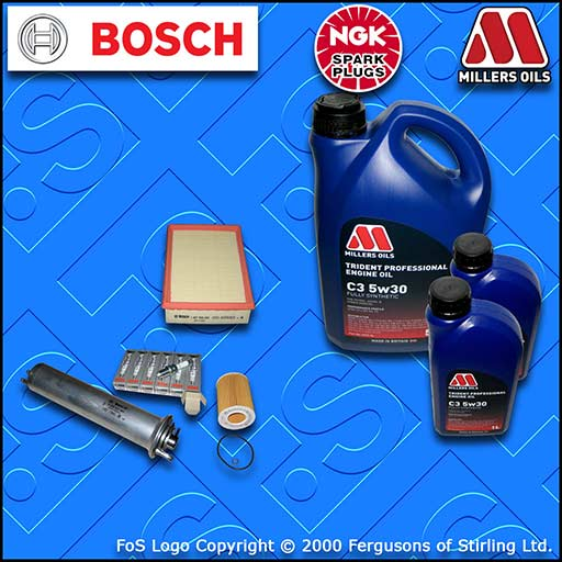 SERVICE KIT for BMW 5 SERIES (E39) 530i OIL AIR FUEL FILTER PLUGS +OIL 2000-2003