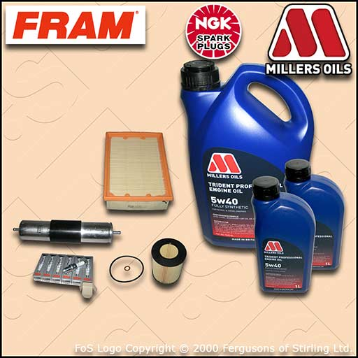 SERVICE KIT BMW 5 SERIES 523I E39 OIL AIR FUEL FILTER NGK PLUGS +OIL (1995-2000)