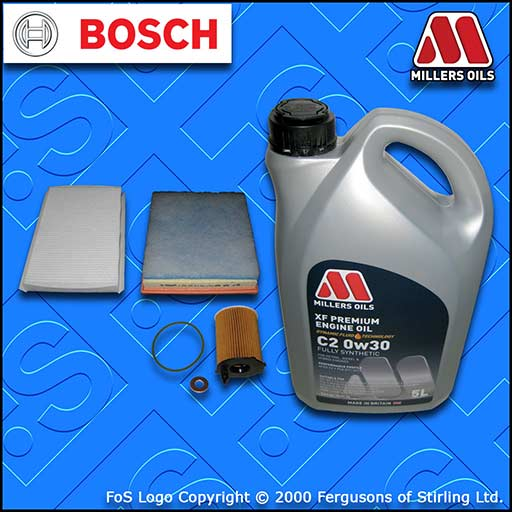 SERVICE KIT for DS DS4 1.6 BLUEHDI OIL AIR CABIN FILTER +C2 0w30 OIL (2015-2019)