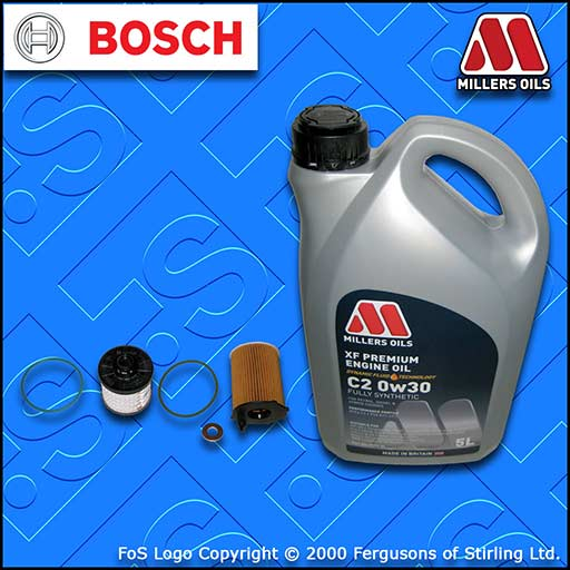 SERVICE KIT PEUGEOT 5008 1.6 BLUEHDI DV6FC OIL FUEL FILTERS +C2 OIL (2014-2016)