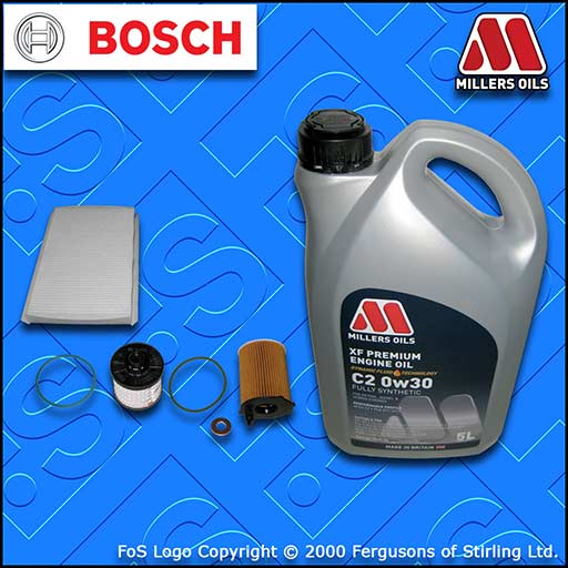 SERVICE KIT for DS DS4 1.6 BLUEHDI OIL FUEL CABIN FILTER +C20w30 OIL (2015-2019)
