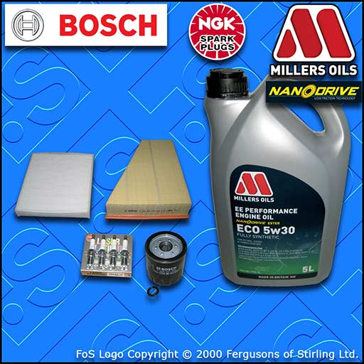SERVICE KIT for FORD S-MAX 2.0 OIL AIR CABIN FILTER PLUGS +5w30 OIL (2006-2014)