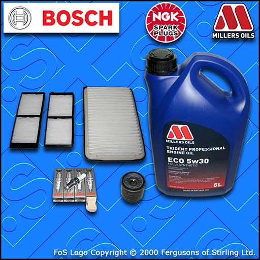 SERVICE KIT for MAZDA 2 (DE) 1.3 OIL AIR CABIN FILTERS PLUGS +LL OIL (2007-2015)