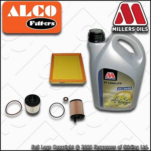 SERVICE KIT for PEUGEOT 508 1.6 BLUEHDI OIL AIR FUEL FILTERS +OIL (2014-2018)
