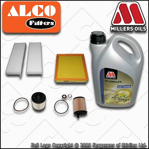 SERVICE KIT for CITROEN DS5 1.6 BLUEHDI OIL AIR FUEL CABIN FILTER +OIL 2014-2015